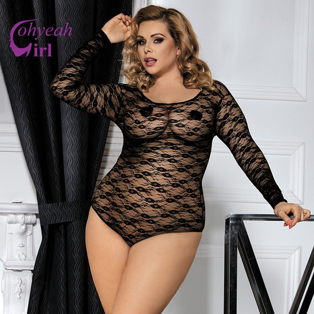 6f0f814ed3 Ohyeahgirl Popular beach swim sexy lace bodysuit black color plus size  bodysuit women RW80382 hot transparent long sleeve teddy