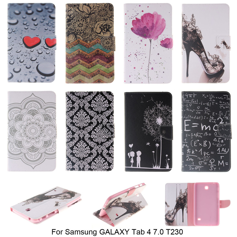 Fashion PU Leather Cover For Samsung GALAXY Tab 4 7.0 T230 Tablet Wallet Flip with Card Slot Case For Samsung Galaxy Tab 4 Nook
