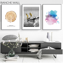 BIANCHE WALL Deer Trees Colored Abstract Nordic Landscape Wall Art Canvas Poster Painting Decoration Picture Home Decor