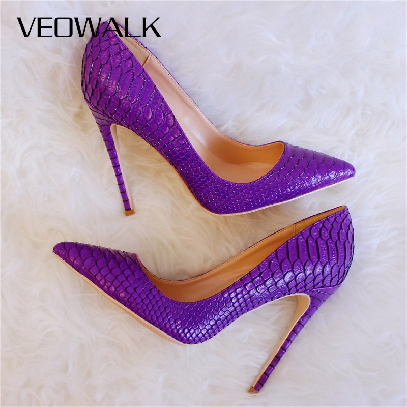 Veowalk Solid Purple Crocodile Embossed Women Sexy High Heels Italian Style Laidies Stilettos Pumps Thin Heel Shoes Customized
