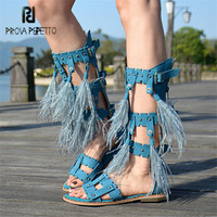 Prova Perfetto Rome Style Feather Decor Women Gladiator Sandals Sexy Hollow Out Rivets Summer Boots Fringed Flat Shoes Woman