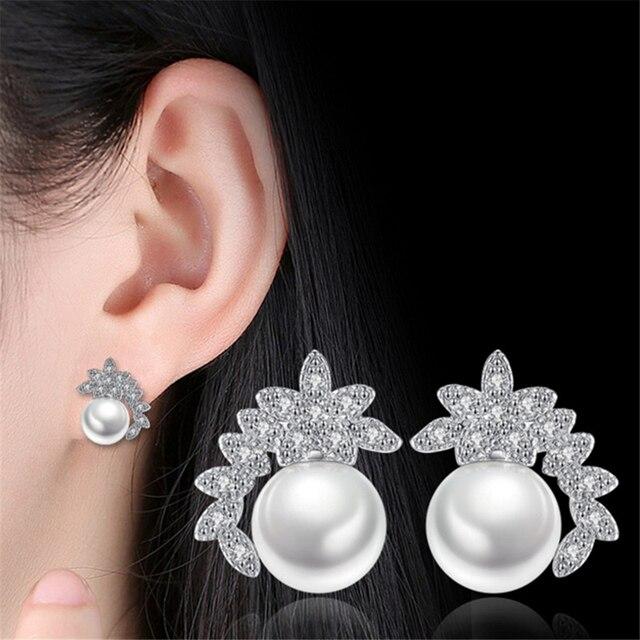 Female Jewelry Sweet Past Leaves Stud Earrings Pearl Flowers Luxury Cubic Zirconia S Creative
