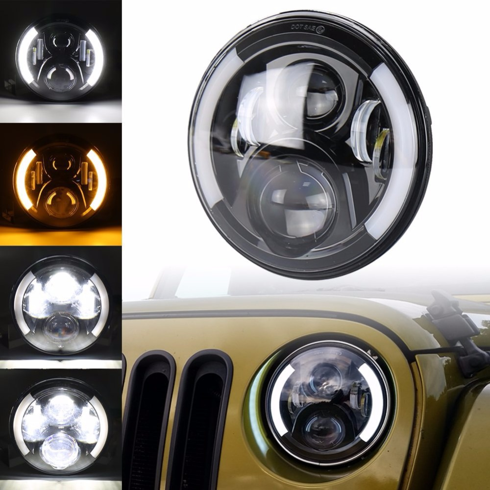 7 inch Round LED Headlights with DRL Halo Angel Eyes & Turn Signal lights for Jeep Wrangler JK TJ CJ 1997 ~ 2017