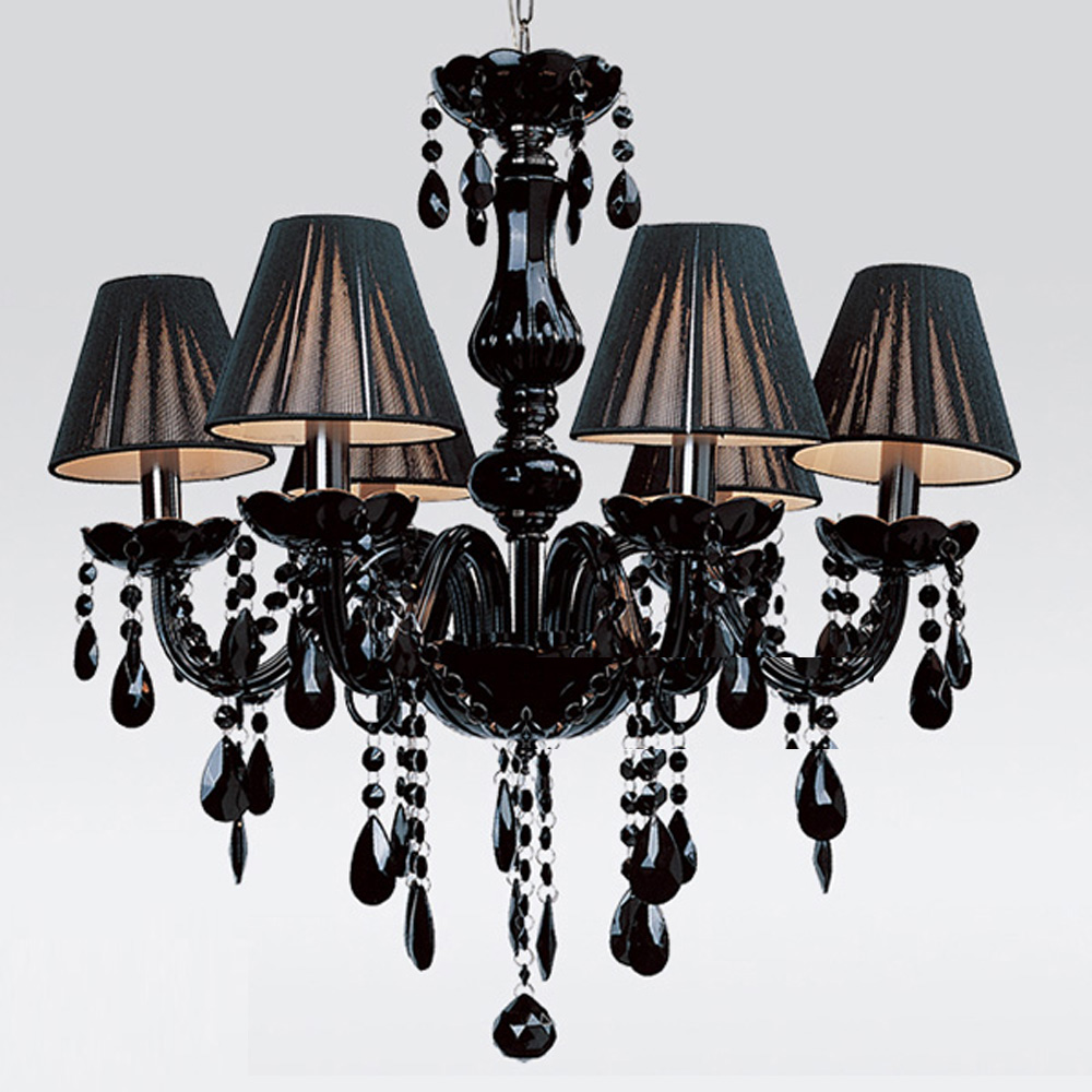 Free Shipping European Black Candle Crystal Chandeliers 6 Lights With Lamp Shade For Living Room Bedroom