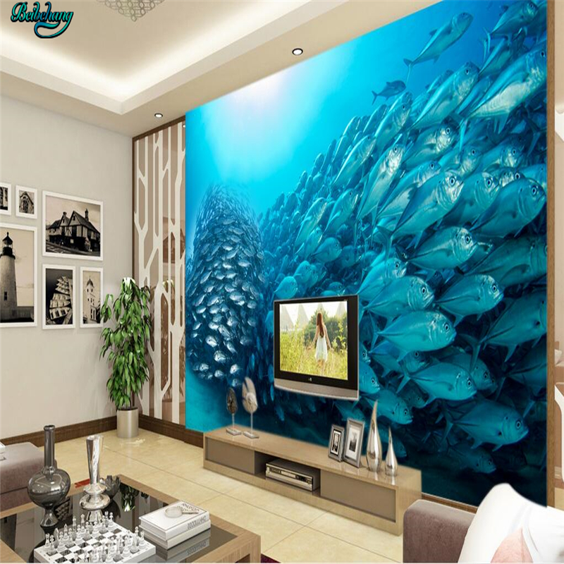Beibehang LLarge Custom Wallpaper Underwater World 3D Stereo TV Background Living Room Bedroom Home Decoration