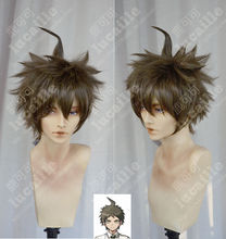 Anime Danganronpa Hajime Hinata Short Linen Brown Wig Heat Resistant Hair Cosplay Costume Wig + Free Wig Cap