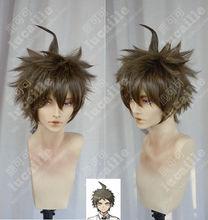 Perruque de déguisement pour Cosplay avec motif Anime Danganronpa Hajime Hinata, cheveux courts et bruns résistants à la chaleur + capuchon de perruque gratuit