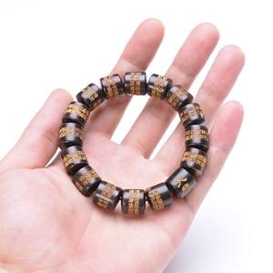 Image 5 - Seau de prière en ébène naturel perles Bracelets Protection de lincantation chapelet bouddhiste Yoga méditation Bracelet en bois pour hommes femmes
