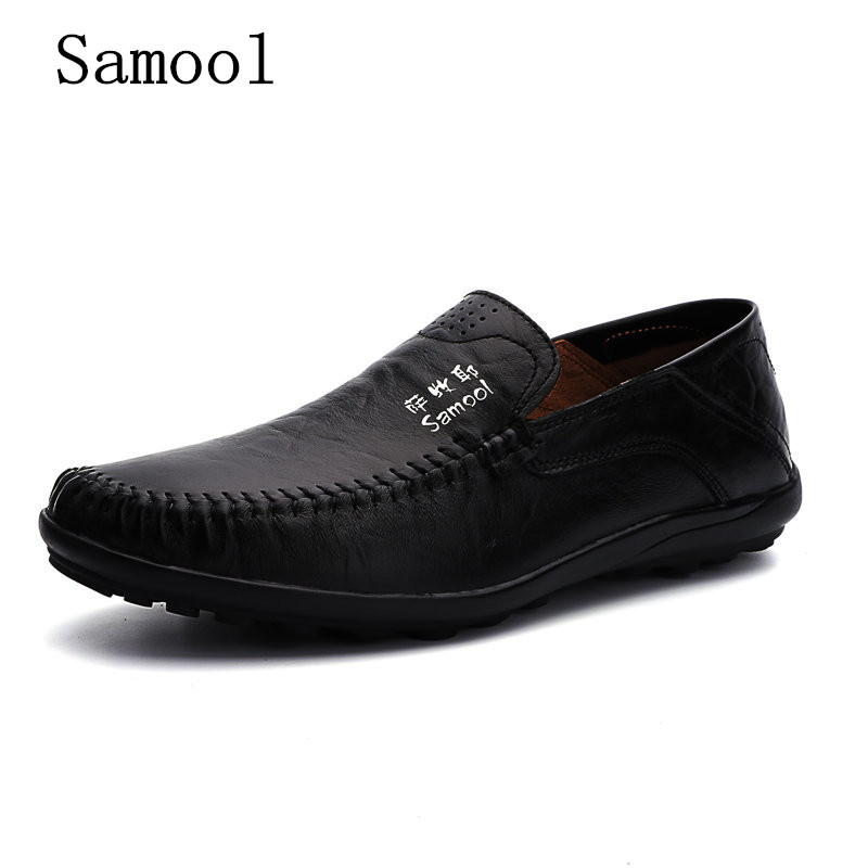Autumn Handmade High Quality Genuine Leather Men  Breathable Casual Shoes Slip-on Business Lazy Driving Shoes Big Size 37-47 high end breathable men casual shoes loafers genuine leather lace up rubber handmade slip on sewing lazy shoes italian designer