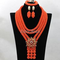 High Quality African Beads Necklace Set Nigerian Wedding Coral Beads Jewelry Set Fashion Costume Jewelry Set Free Shipping CJ677