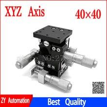 XYZ Eksen 40*40 Kırpma Istasyon Manuel Deplasman Platformu doğrusal sahne Sürgülü Masa 40*40mm LD40 LM XYZ40 LM
