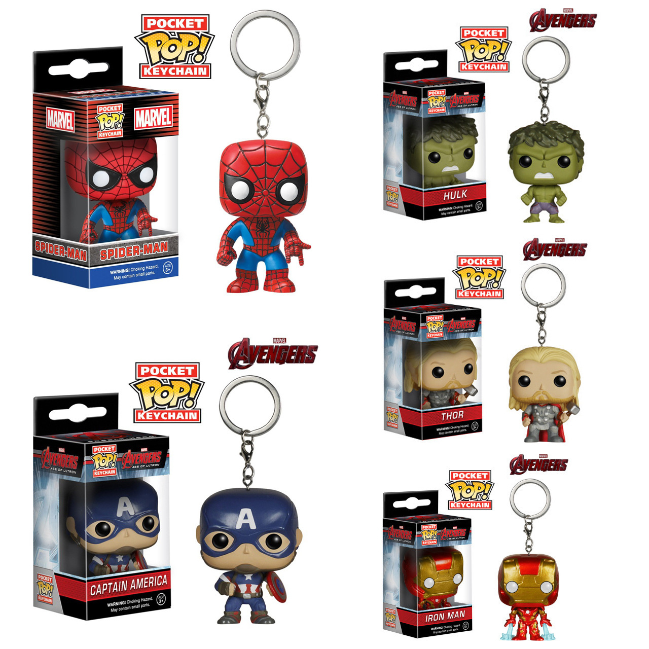 5pcs/lot FUNKO POP Pocket Marvel Avengers Keychain Hulk Iron Man Spiderman Captain America Thor PVC Action Figure KeyRing Toy  funko pop marvel the hulk no 08 red hulk no 31 iron man vinly bobble head pvc action figure collectible model toy gift for kids
