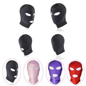 Image 2 - Erotyczne kaptur maska Sex zabawki Bondage fetysz kaptur maska dokręcić oddychające otwarte usta maski na oczy BDSM Cosplay Sex zabawki erotyczne nakrycia głowy