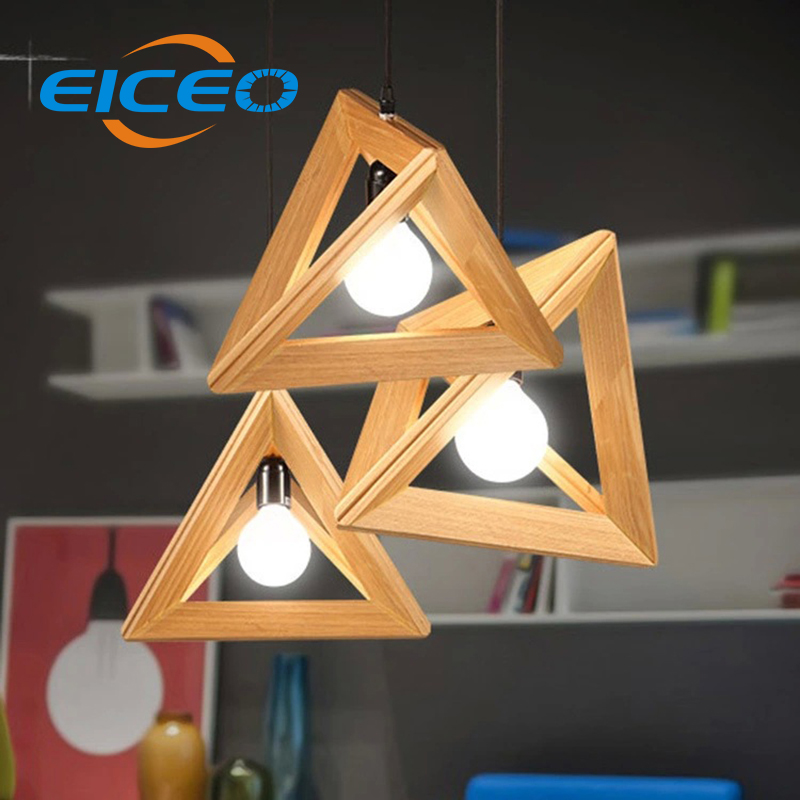 (EICEO) Hotel Cafe Wood LED Chandelier Living Room Bedroom Lighting Atmosphere Creative Triangle Wood Pendant Lamp 24cm 27cm 30 цена и фото