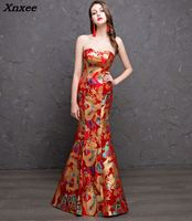 2018 red gold mermaid dresses for women cheongsam chinese style long prom evening gowns high quality satin maxi dress vestidos