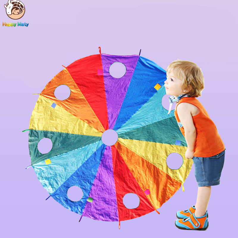 Dia 3.6M Children Games Whac-A-Mole Rainbow Umbrella Educational Outdoor Sports Toys Funny Parachute Ballute Kindergarten Kids 1 8 3 5m outdoor toy rainbow umbrella parachute sensory toys for children kid playing outside traning cooperate outdoor games