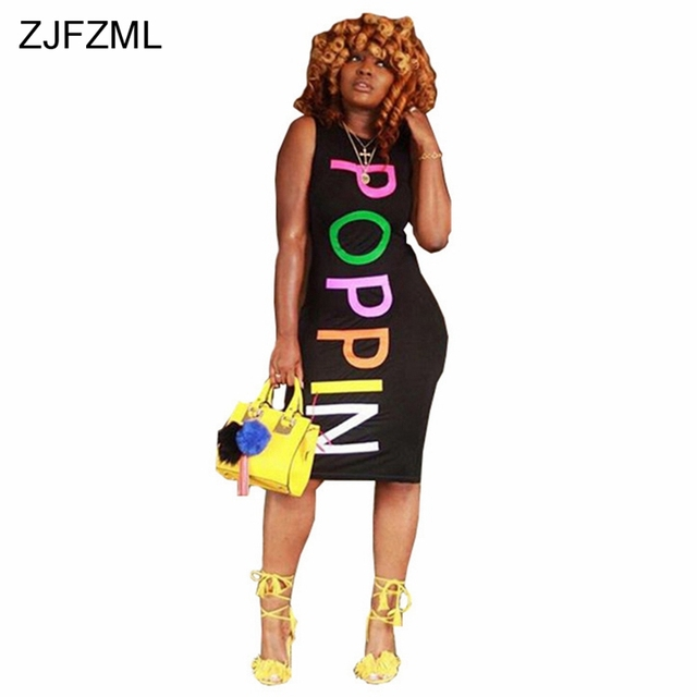 ZJFZML Letter Printed Sexy T Shirt Dress Casual Women Round Neck Sleeveless  Bandage Dress Summer Slim Plus Size Party Midi Dress 8a9a4a35eafa