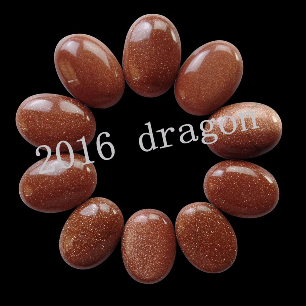 (10 pieces/lot) Wholesale Gold Sand Stone Oval CAB Cabochon 20x15x6mm Free Shipping Fashion Jewelry