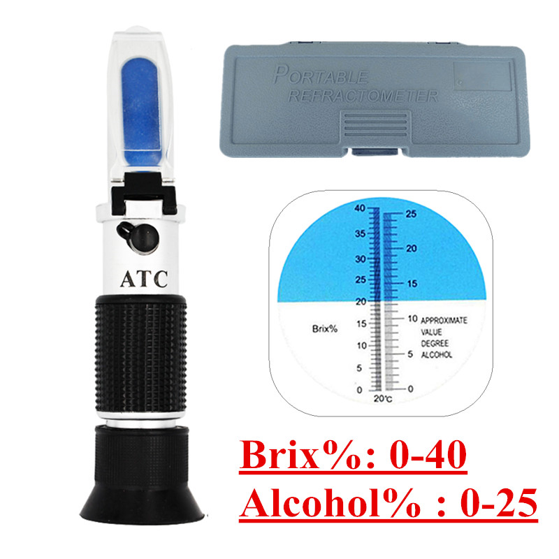 Retail Box Specific Gravity 0-40% Brix Alcohol Refractometer Tester for Wort Beer Wine Grape Sugar ATC Set Sacc 47% off цены