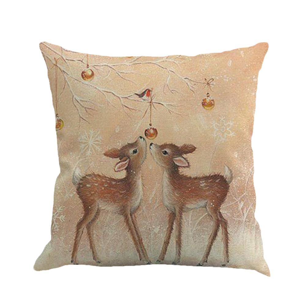 Image 2 - New Merry Christmas Simple Pillow Cover Fawn Printing Dyeing Bed Home Decor Pillow Cover Flax high quality car Pillowcover-in Cushion Cover from Home & Garden