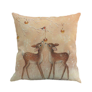 Image 2 - New Merry Christmas Simple Pillow Cover Fawn Printing Dyeing Bed Home Decor Pillow Cover Flax high quality car Pillowcover