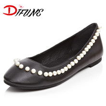 Spring Summer fashion Ballet girl's Flats Women's comfortable beading girl Slip On Lazy Shoes genuine leather flats for female