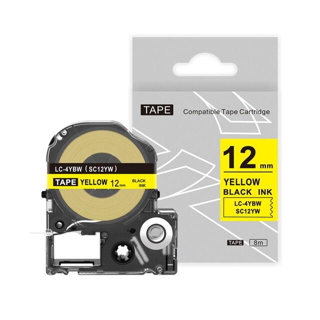 5 PCS עבור EPSON SC12YW תווית קלטת תואם 12mm שחור על צהוב תווית קלטת SC12YW עבור Kingjim מחסנית מדפסת