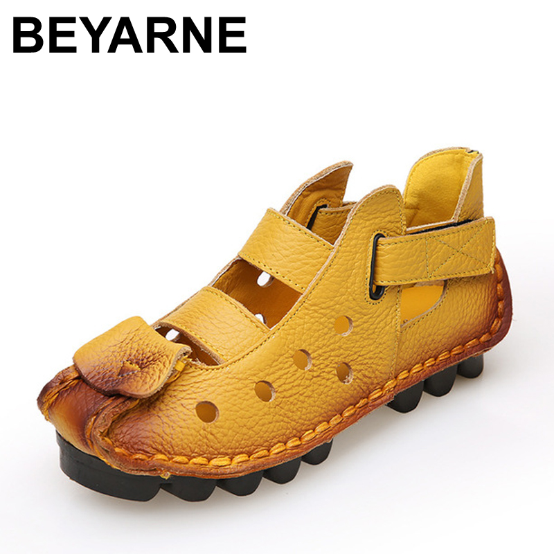 BEYARNE Summer New Soft Bottom Flat Leather Shoes Personality Casual Women Sandals Tunnel Vintage Handmade Sandals For spring