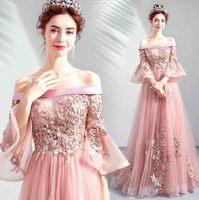 Pink Off Shoulder Luxury Party Dress Half Flare Sleeve A Line Wedding Bridal Evening Formal Dress For Women Plus Size 6XL 5XL