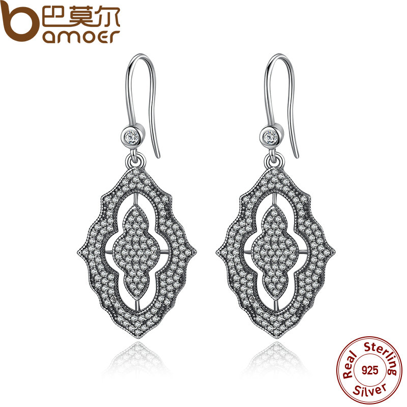 BAMOER 2016 New Arrival 100 Authentic 925 Sterling Silver Female Earrings With AAA Zircon TOP Quality