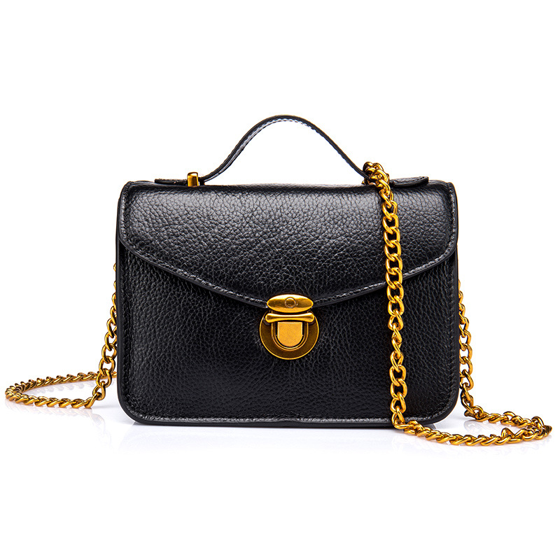 Women Bag Female Shoulder Bags Brand Lady Flap Mini Bag Lock Evening Party Bags Real Leather Tote Style Girl Handbag Sac Black in Shoulder Bags from Luggage Bags