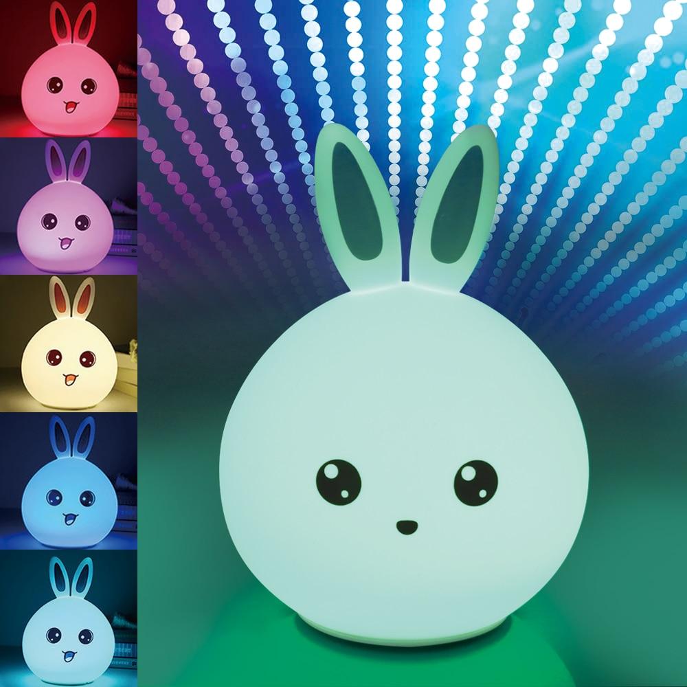Neue Ankunft Kreativer Tier Modell Energiesparende Wiederaufladbare USB Schöne Kaninchen Silikon Led-lampe Nachtlicht Raumdekoration