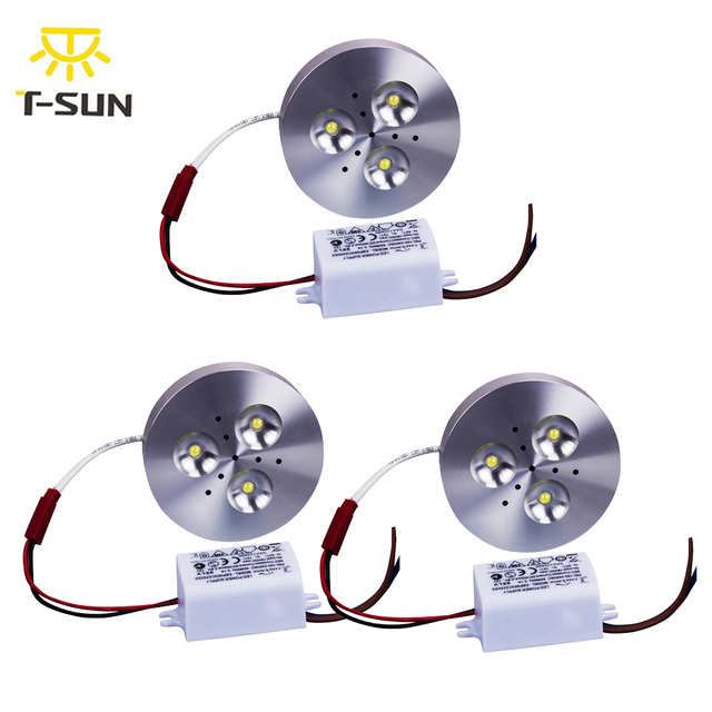 T Sunrise 3pcs Pack Led Under Cabinet Lights Kit Surface Mounted 3x1w Aluminum Puck Lamps