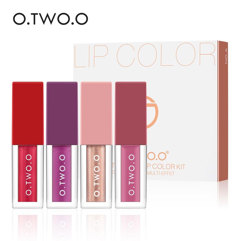 O.TWO.O Lip Gloss 4pcs Makeup Set Soft Glossy Shimmering Liquid Lipstick Texture Different Red Velvet Lips Cosmetics Kit