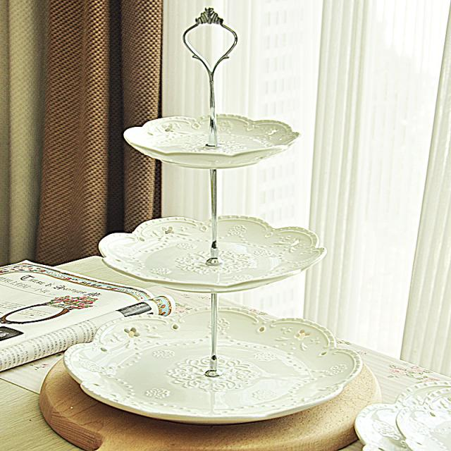Free shipping fashion 3 tier ceramic cake stand fruit plate cake pan dessert plate cake tools & Free shipping fashion 3 tier ceramic cake stand fruit plate cake pan ...