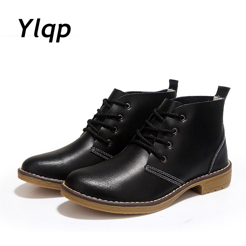 Plus Size Genuine Leather Women Boots 2017 British Fashion Ankle Boots for Women Soft Outdoor Casual Flat Shoes zapatos mujer large size 34 40 2016 fall women ankle boots cowhide soft leather flower genuine leather women short boots flat with shoes lady