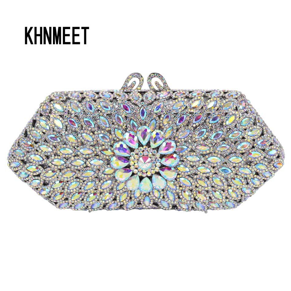 11 color AB silver crystal Clutch Bag Women Party Wedding Bridal Purse SC571