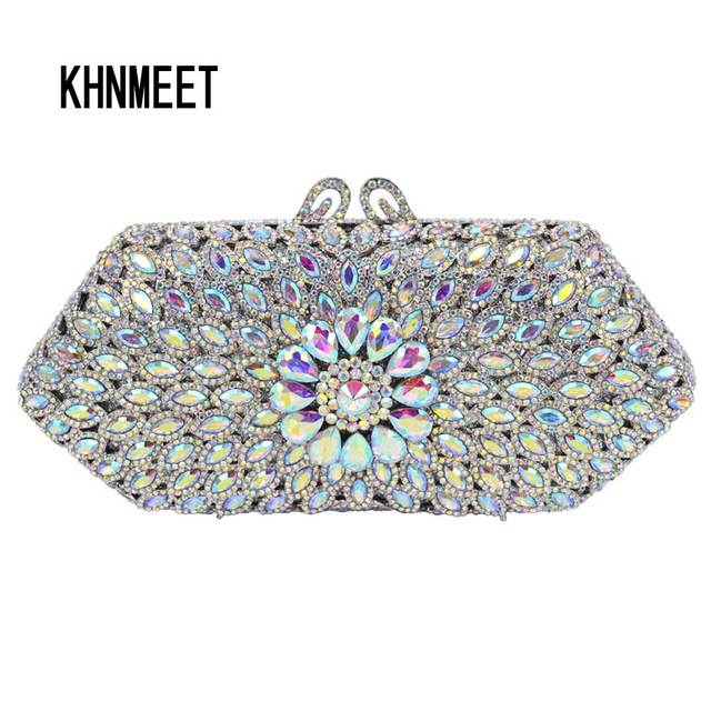 a8e04fe1121f 11 color AB silver crystal Clutch Bag Women Party Wedding Bridal Purse SC571
