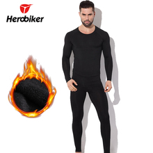 Herobiker Thermal Underwear Mens Fleece Lined Set Motorcycle Base Layer Cycling Skiing Winter Warm Long Johns Top & Bottom Suit