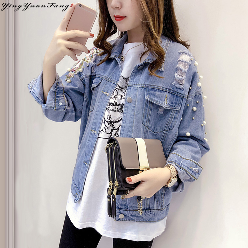 YingYuanFang Fashion Women's vintage loose appliques single-breasted lapel denim jacket with sequins