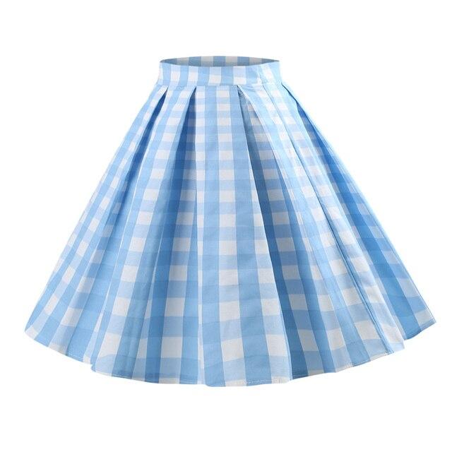 Wipalo плед печати Винтаж юбка для женщин; Большие размеры S-5XL Хлопок молния Повседневное Миди-юбки 50 s Высокая Талия трапециевидной формы летние юбки синий