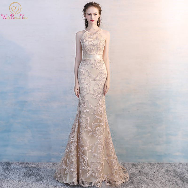 Walk Beside You Mermaid Champagne   Bridesmaid     Dresses   Lace Long Spaghetti Strap O-neck Sweep Train Wedding Party Honor Women Gown