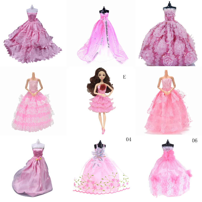 Pink Elegant Wedding Dresses Clothes Evening Dress For Handmade Clothes Dresses Grows Outfit For Doll Dress