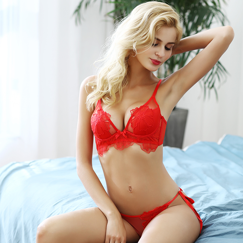 Shaonvmeiwu Winter Super Lace Embroidered Bra Set For Women Adjustment Red Benmingnian Underwear Thin