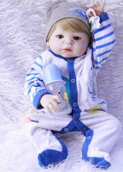 bebe reborn 55cm boy body boneca doll full silicone completa for boy Toys reborn babies doll birthday gift toys for kids