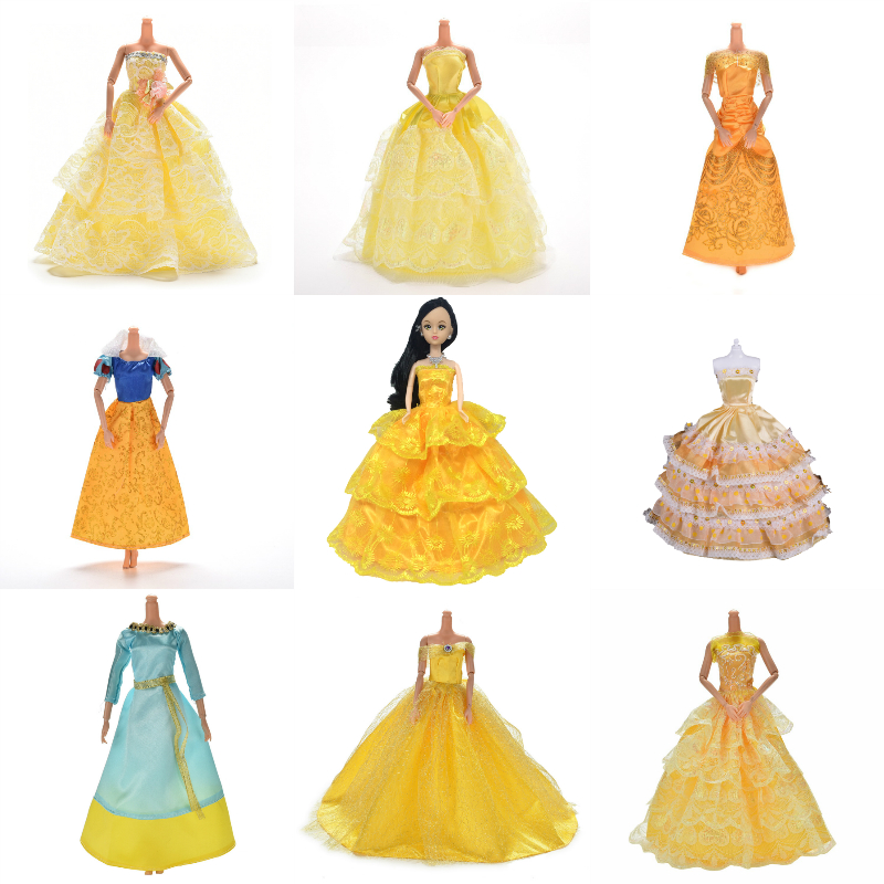 Yellow Wedding Dress Princess Evening Party Ball Long Gown Skirt Bridal Veil Costume Clothes For Doll Accessories Xmas Gift Toy