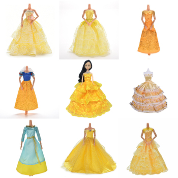 leadingstar 2017 new wedding bridal dress princess gown evening party dress doll clothes outfit for barbie doll for kids gift Yellow Wedding Dress Princess Evening Party Ball Long Gown Skirt Bridal Veil Costume Clothes For Doll Accessories Xmas Gift Toy