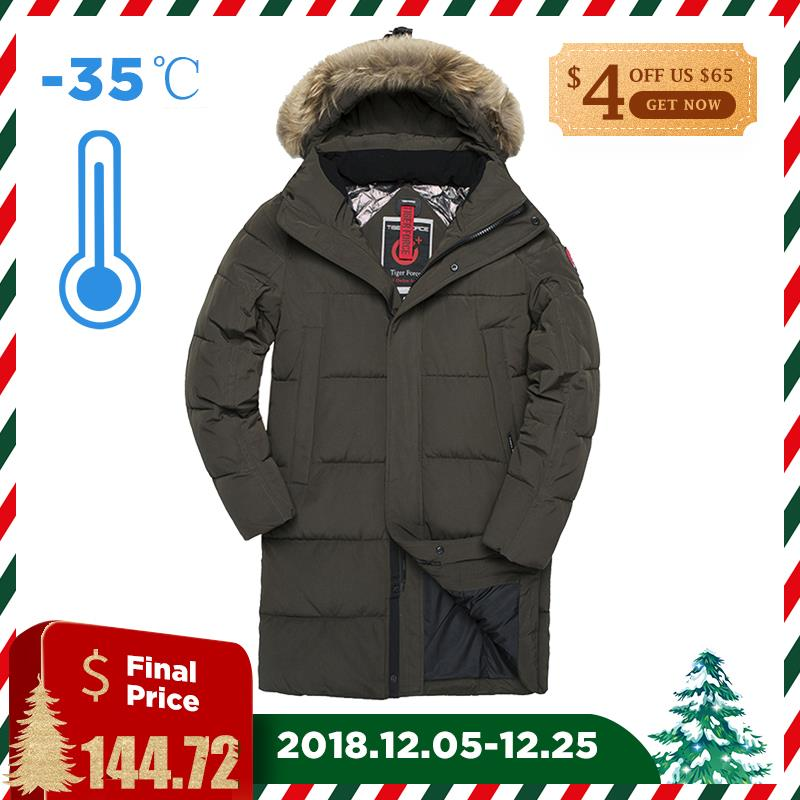TIGER FORCE Men Winter Jacket Parka Padded Coat Detachable Hooded Men s Winter Coat Artificial Fur