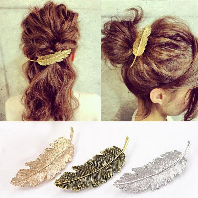 Female Gold / Silver Clip Feuille Feather Hair Hairpin Barrette Bobby Pins