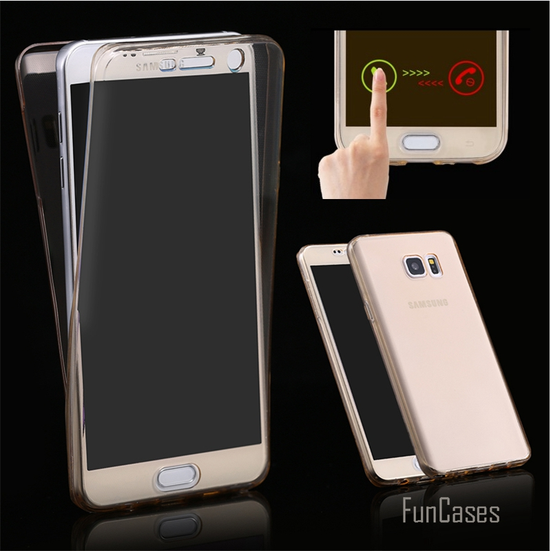 Note 4/ Note 5 Soft TPU Transparent 360 Full Case For Samsung Galaxy Note 4 5 Touch Screen Front+Back TWO-PIECE Hybrid Cover